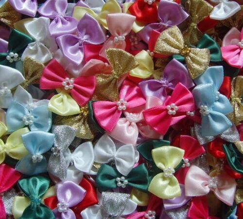 Cinta De Raso Arcos Con Perlas Adornos X 10 * Elige Tu Color *