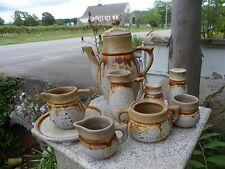 Lot of 10 Laurentian Tundra Pottery Canada Mid Century Lava Drip Brown Tea Pot