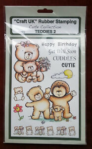 Craft-UK-Teddy-Bear-2-Birthday-amp-Border-Rubber-Stamp-A5-size-Last-one