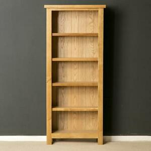 London-Oak-Slim-Bookcase-Light-Oak-Narrow-Bookcase-Solid-Wood-Shelving-New