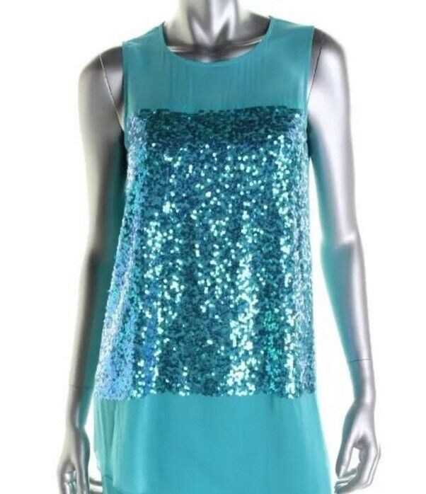 DKNY Größe Small Party Dress Blaus Silk HI LO SLEEVELESS KNEE LENGTH Sequined