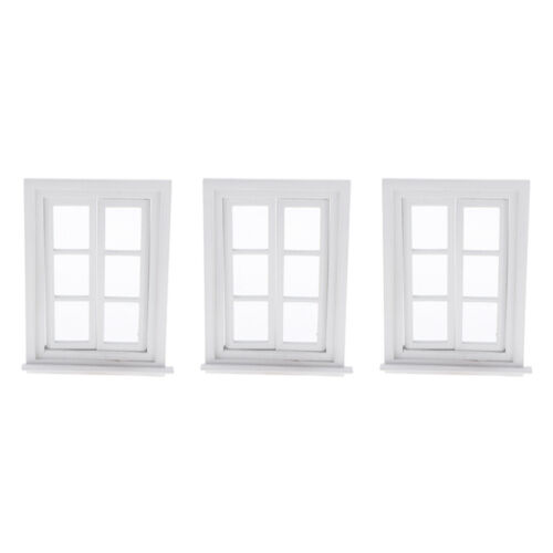 3 Set 1//12 Miniature Dollhouse Wooden Window for Doll House DIY Decoration