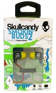 Skullcandy Smokin Buds 2 Locals Only Gray Blue In Ear Headphones with Microphone