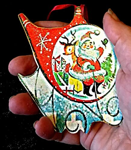 Helicopter Santa Ornament Wooden Christmas Gift Mid-Century Modern Airplane