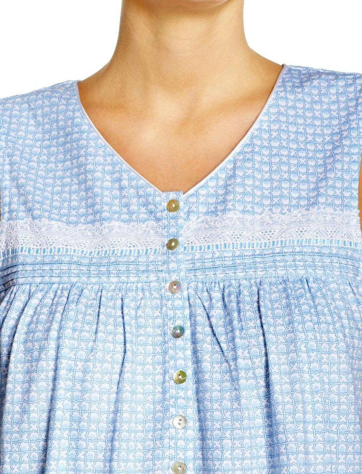 New LG Eileen West Sleeveless Tile Print Cotton Knit Short 38  Night gown Ladies
