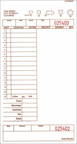 6932-1 Tan Single Page Case of 2,000 Guest Checks
