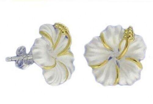 Hawaiian 925 Sterling Silver Hibiscus Flowers 14K Post Stud Earrings