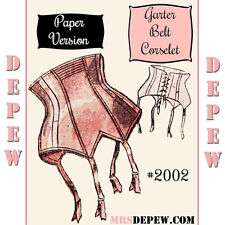 Vintage Sewing Pattern French 1950's Pin Up Corset Garter Belt Pattern 25-35""