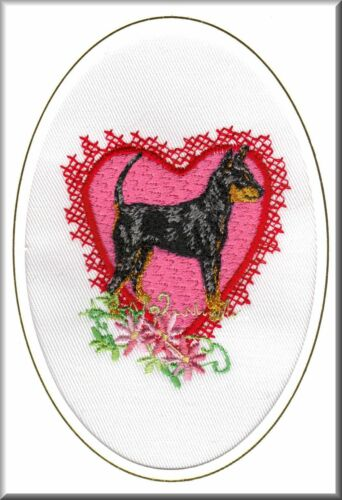 Miniature Pinscher Birthday Card or Notecard Embrodiered by Dogmania