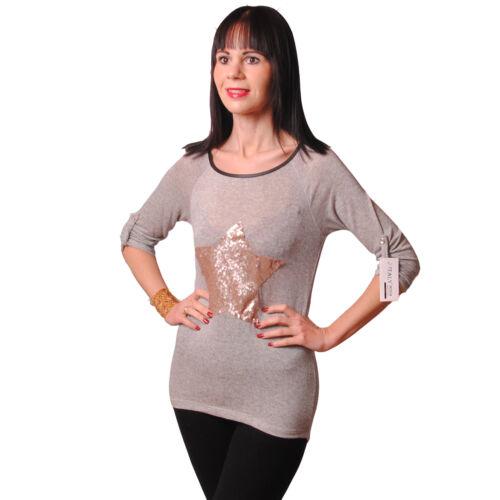 Neu Vokuhila Top Shirt Spitze Longtop Glitzer Stern Pailletten Grau 34 36 38