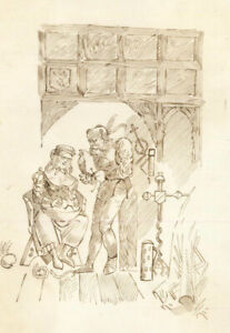 Charles William Cole - Late 19th Century Pen Drawing, Medieval Interior Scene