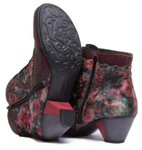 Rieker Y7213-34 Women Synthetic Leather Red Multi Ankle boots Size UK 3-8