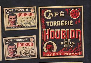 Ancienne étiquette Allumette Belgique Bn7901 Café Houbion Ncuoyn39-08002338-105177989