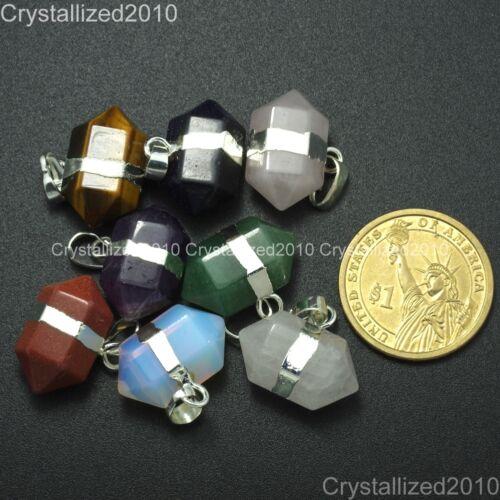 Natural Gemstone Hexagonal Prism Pointed Reiki Chakra Pendant Beads Silver Gold