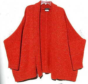 Eskandar REDISH ORANGE Handloomed Heavy Weight Cashmere Cardigan ...