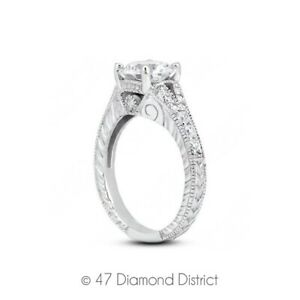 2-49-CT-D-SI2-Round-Natural-Diamonds-18K-Gold-Vintage-Style-Sidestone-Ring