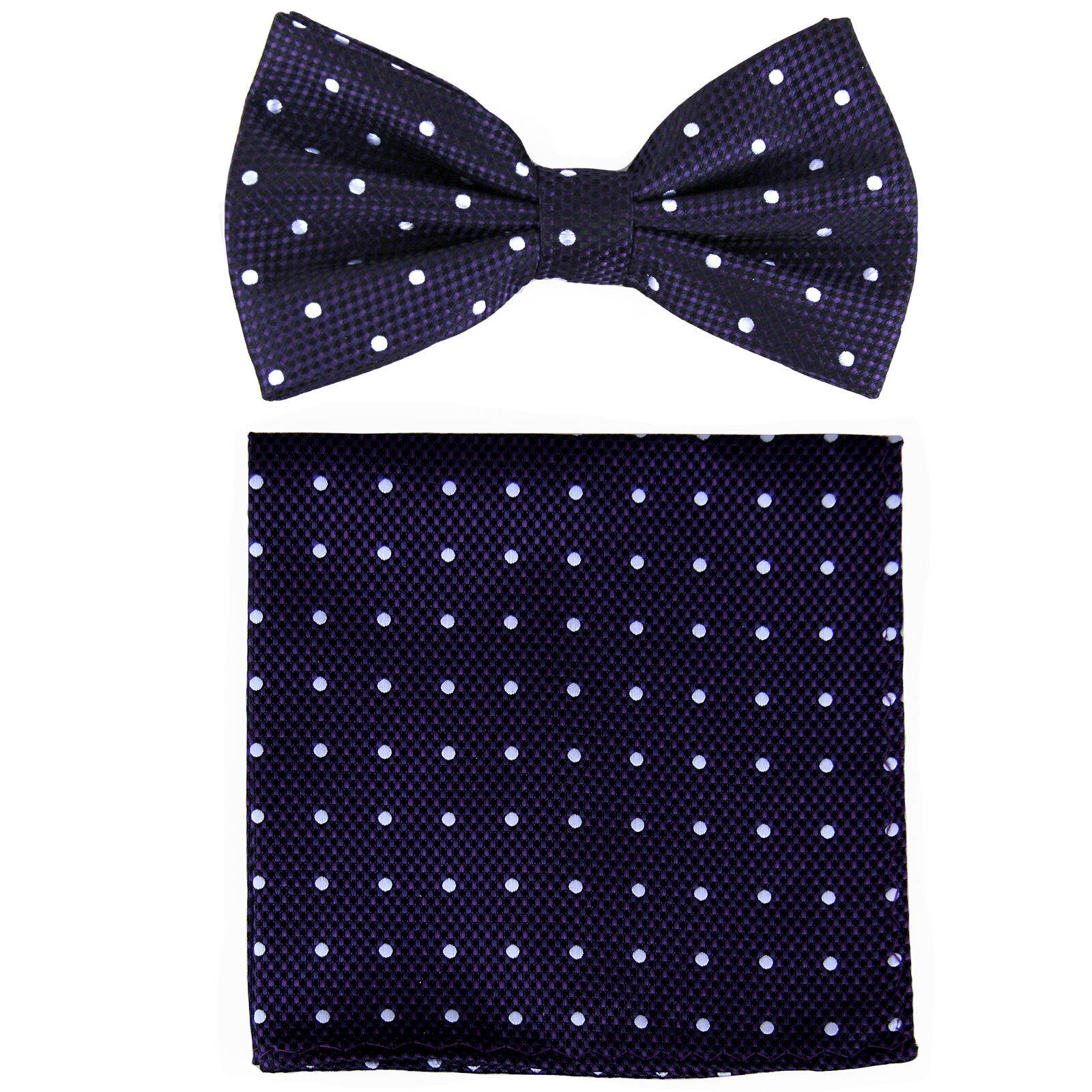 New Brand Q Men's Pre-tied Bow Tie & hankie purple white polka dots formal