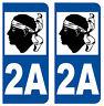 2A CORSE DEPARTEMENT IMMATRICULATION 2 X AUTOCOLLANTS / STICKER - AUTO