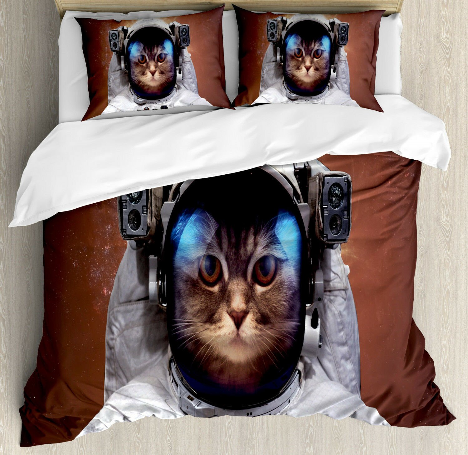 Space Cat Duvet Cover Set with Pillow Shams Kitten in Milkyway Print