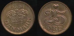Denmark-Kingdom-Margrethe-II-1994-25-Ore-Uncirculated