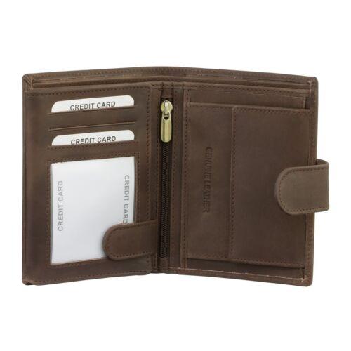 Homme RFID Cuir Véritable Pièce De Monnaie Pochette Portefeuille Poche zippée fenêtre d/'identifiant de Protection Noir