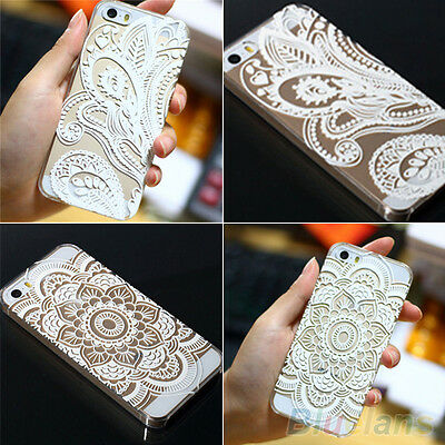 Hollow Henna Flower Skin Case Paisley Feather Cover for iPhone 5 5S 6 6 plus