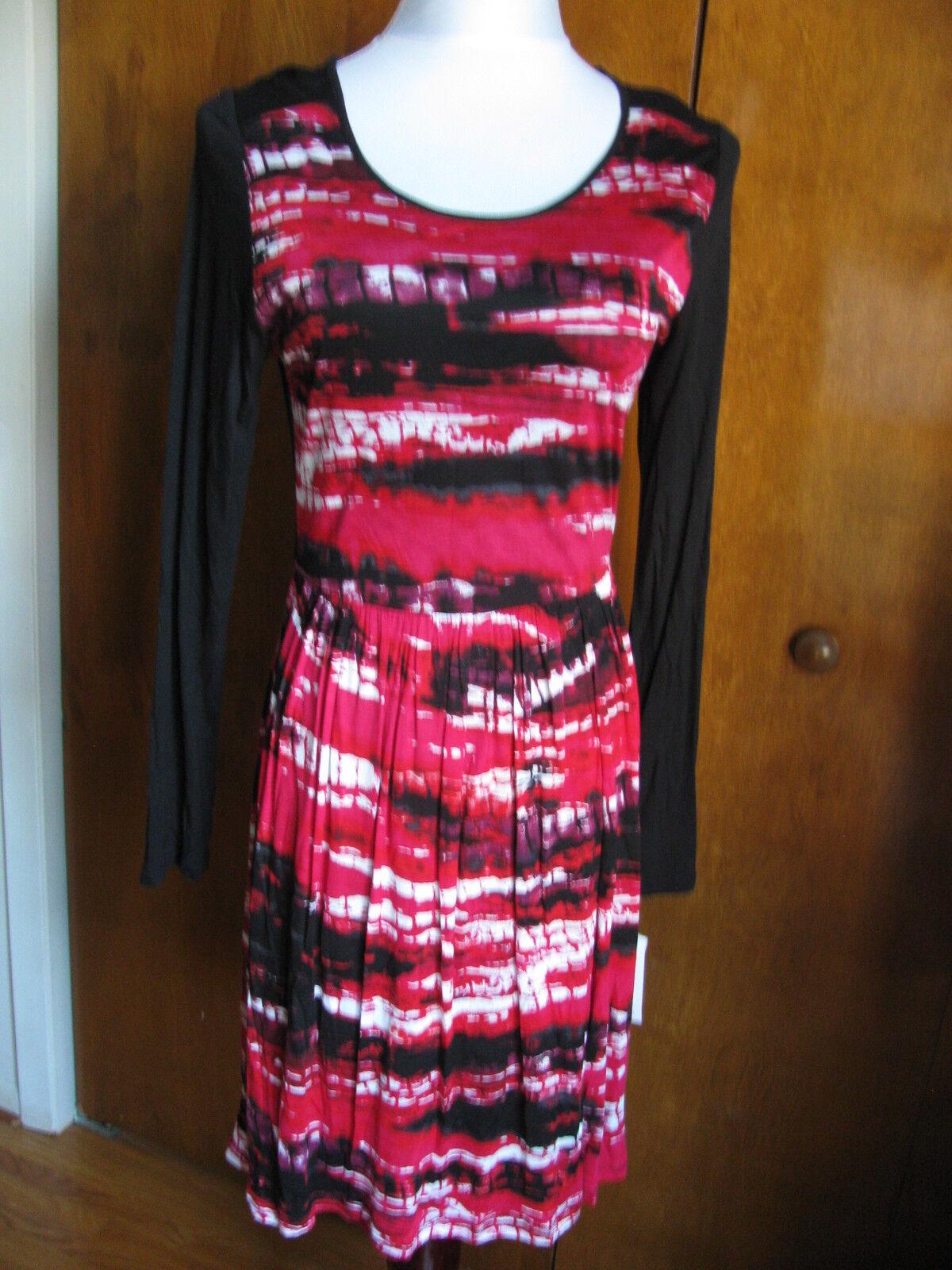 Kensie damen's schwarz rot poppy combo lined soft dress Größe Small NWT