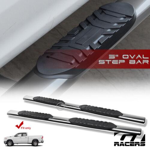 "For 2019-2020 Ram 1500 Quad//Ext 5/"" Chrome Oval Side Step Nerf Bars Running Board"