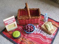 American Girl Doll Saige's Picnic Set - New in Box - Basket, Blanket, Chips +