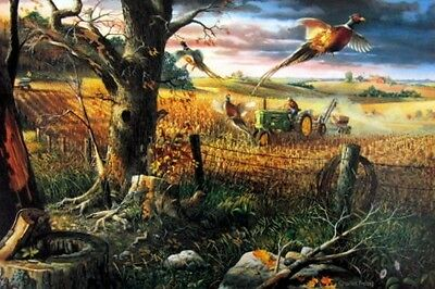 "Charles Freitag  Autumn Harvest John Deere Pheasant  Print 10/"" x 7/"""