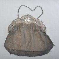 WMF Jugendstil Handtasche, Kettentasche um 1900, versilbert