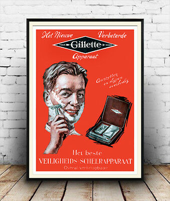 Gillette 2 Classic Vintage Retro Poster Bathroom Old Advert Man Home Picture
