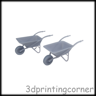 2x 3d Printed Steel Wheelbarrow 1:43, O Scale Model Railway Scenery Layout