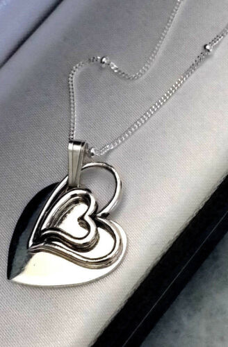 PERSONALISED 925 Sterling Silver Double Heart Necklace Engraved Mothers Day Gift