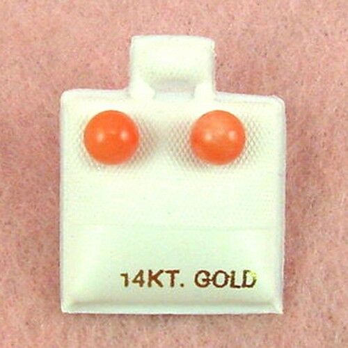 14K Yellow Gold GE330 6mm Coral Ball Stud Earrings