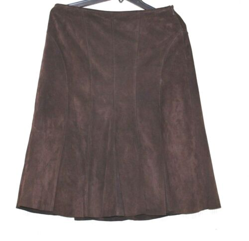 Ann Taylor Brown Leather Suede Flare Skirt Size:6