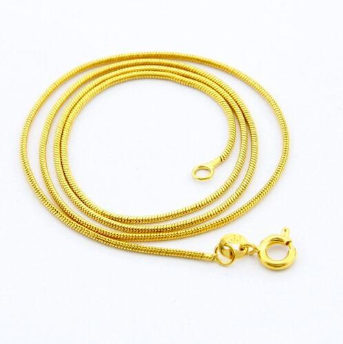 Fashion 24K Gold Plated 1.2MM Snake Bone Chain Men Women Necklace 18inch GJP090