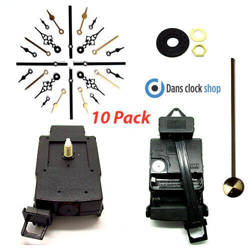 10er Packung Quarz Komplett Pendeluhr Antriebseinheit Bewegung Mechanismus