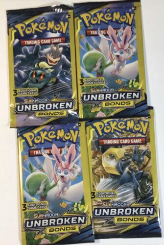 3-Card Booster Pack Lot of 4 Packs HEAVY  Pokemon Sun /& Moon Unbroken Bonds