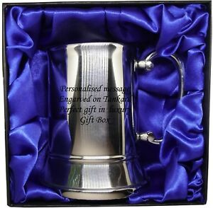 Tankard-Mug-Stainless-Steel-Engraved-free-Luxury-Gift-Box-red-or-blue