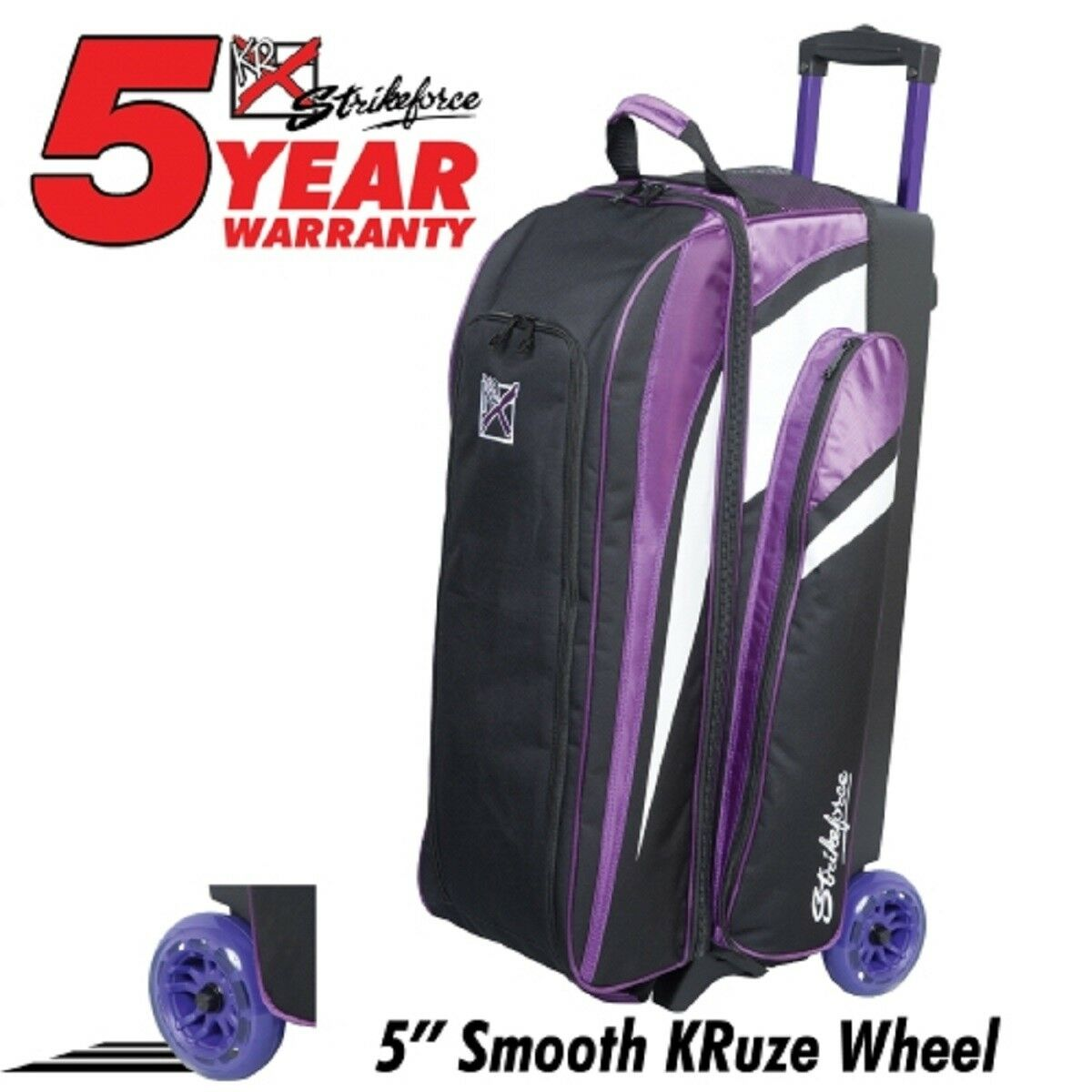 KR Smooth Cruiser 3 Ball Roller Bowling Bag color Purple with 5  Urethane Wheels