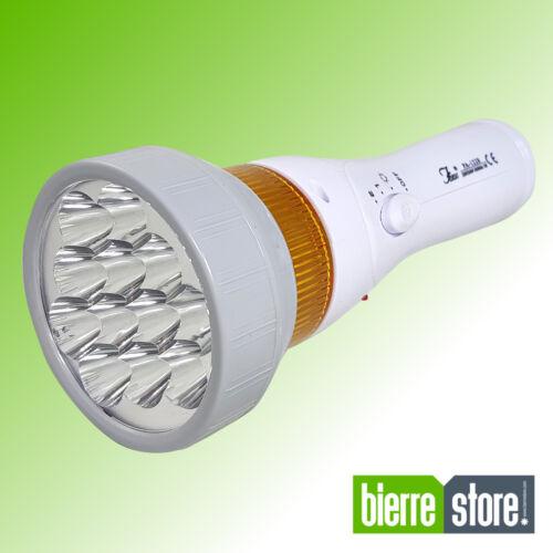 TORCIA  LED RICARICABILE 12 LED 8 ORE CON LAMPEGGIANTE