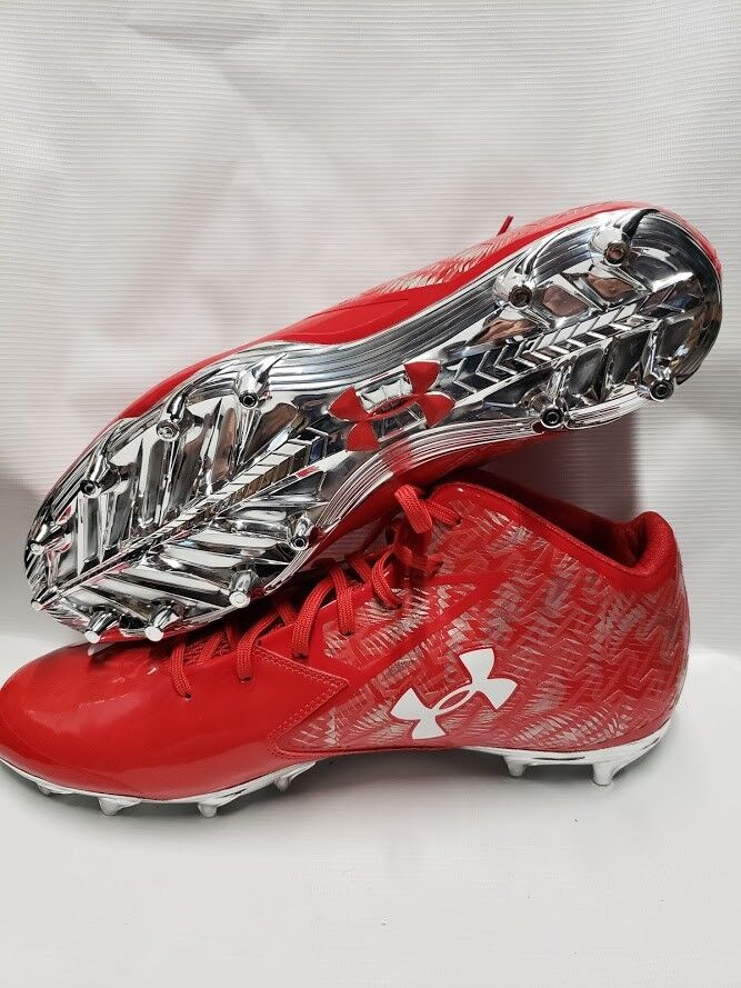 Under Armour UA Nitro Mid D Uomo Football NEW Cleats rosso size 13.5 NEW Football 1270439-600 083393