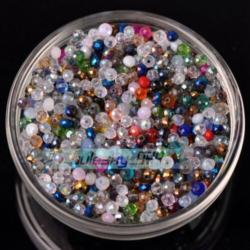 1000pcs 3mm Rondelle Faceted Crystal Glass Charms Loose Spacer Beads Findings