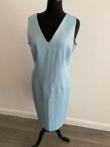 Fenn Wright Manson Dress UK14 EU42 US10 Pale Blue Textured Sleeveless VGC