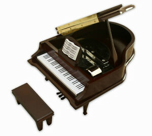 Grand-Piano-Music-Box-Disc-Player-6-Discs-Brown-New-Open-Box-Some-Assembly