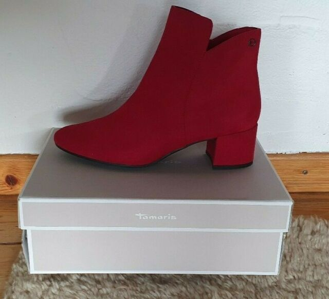 Tamaris Damen Schuhe Stiefeletten Ankle Boot Wildleder Lipstick Rot Gr. 41