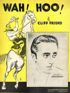 WAH! HOO! Music Sheet-1936-CLIFF FRIEND-LEON BELASCO-Cowboy/Horse-Extra Lyrics