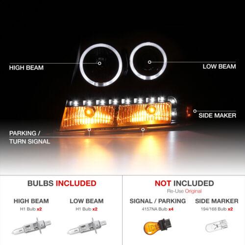 2007-2014 Chevy Tahoe Suburban 1500 2500 Halo LED DRL Projector Headlights Black