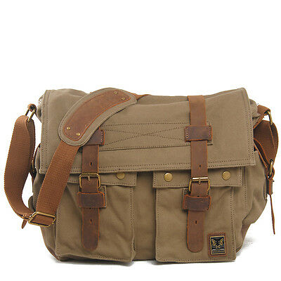 Super Big Men's Vintage Canvas Leather School Shoulder Messenger Camera Bag